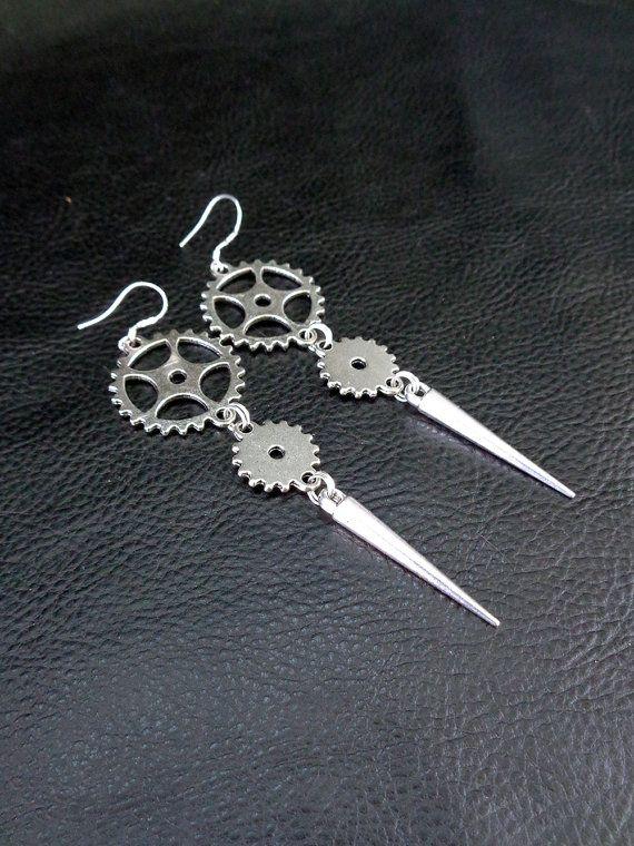 Industrial spike earrings, silver tone cogwheel gear and spike shoulder dusters, long modern statement earrings