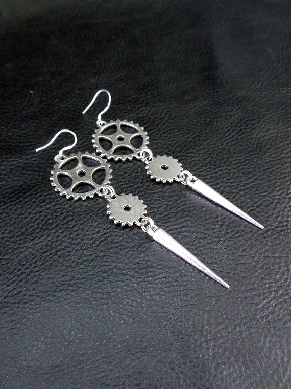 Industrial spike earrings, silver tone cogwheel gear and spike shoulder dusters, long modern statement earrings