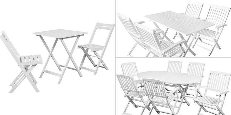 White Garden Table and Chairs Wooden Folding Furniture Bistro Set Camping Deck