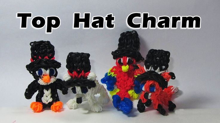 Rainbow Loom (EASY): TOP HAT Charm ( 3D - can be worn by other charms): DIY Mommy