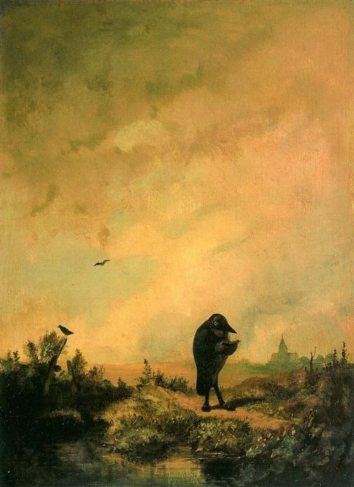 "Crows Ravens:  ""Der Rabe"" ( ""The #Raven""), by Carl Spitzweg (1808 - 1885), circa 1840."