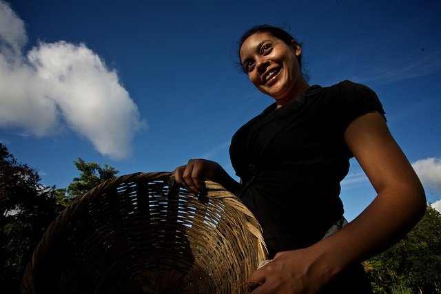 Olinda, from the Tierra Fertil coop in Boaco, Nicaragua, delivering a  basket of fairtrade coffee