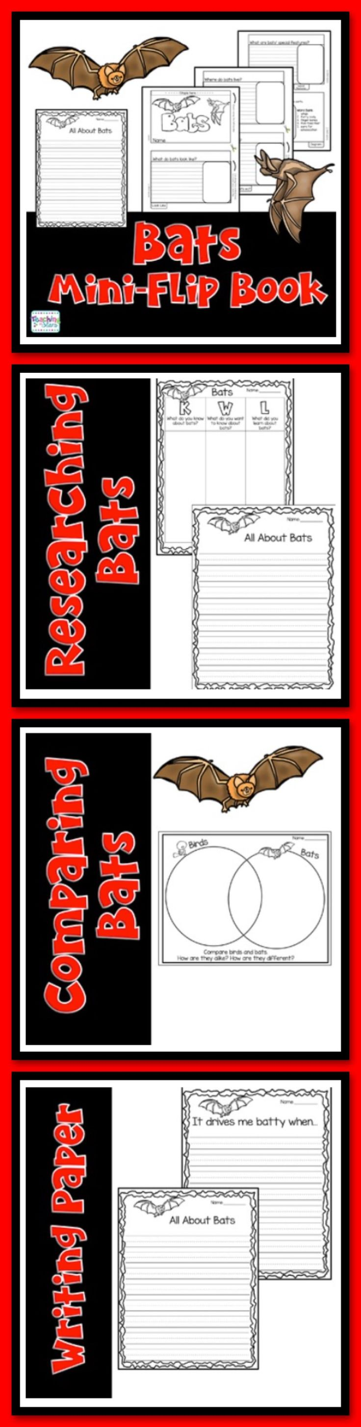 Bats Mini-Book provides a graphic organizer for students to use while learning about bats. Students will collect information on Bats and record their research in their mini-books. This organizer will help students make a final piece of informational writing using the information they have collected.   Materials Included:  Bats Mini-Book 2 Bat Writing Prompts on Lined Paper: It drives me Batty when... and All About Bats  Venn Diagram Birds and Bats