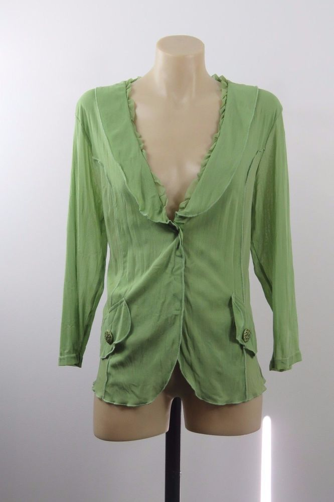 Size L 14 Motto Ladies Green Mesh Top Cardigan Chic Boho Casual Office Design #Motto #Cardigan #Casual