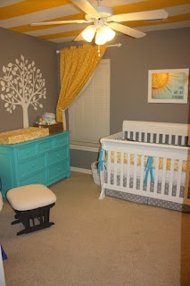 yellow grey and turquoise neutral nursery... This but with orange or green