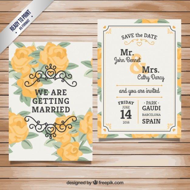 Convite do casamento com rosas amarelas Vetor grátis