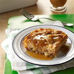Chunky Apple Cake Recipe -After taste testing apple cake recipes, I've found this particular recipe the best. Full of old-world comfort, the yummy brown sugar sauce really makes the cake special. For a festive occasion, top with a dollop of whipped cream. —Debi Benson, Bakersfield, California