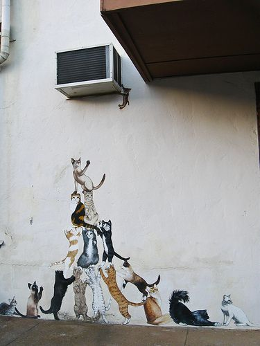 Cats tower street art Curiosity killed the cats by The Official Holly Ferocious unknown place and artist