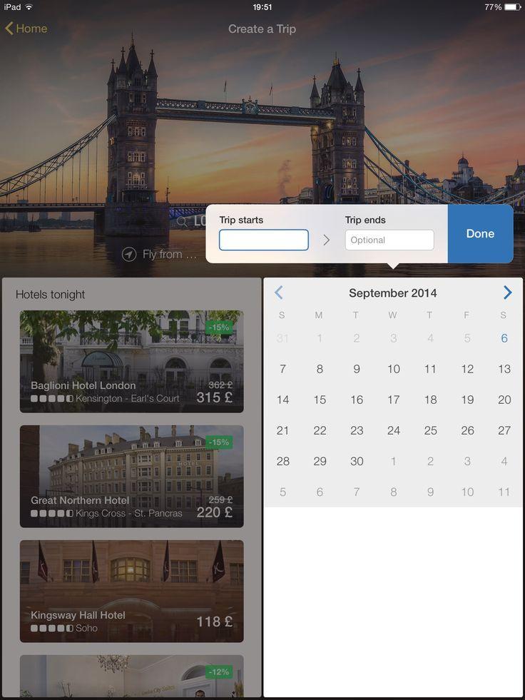 Expedia, date picker, iPad