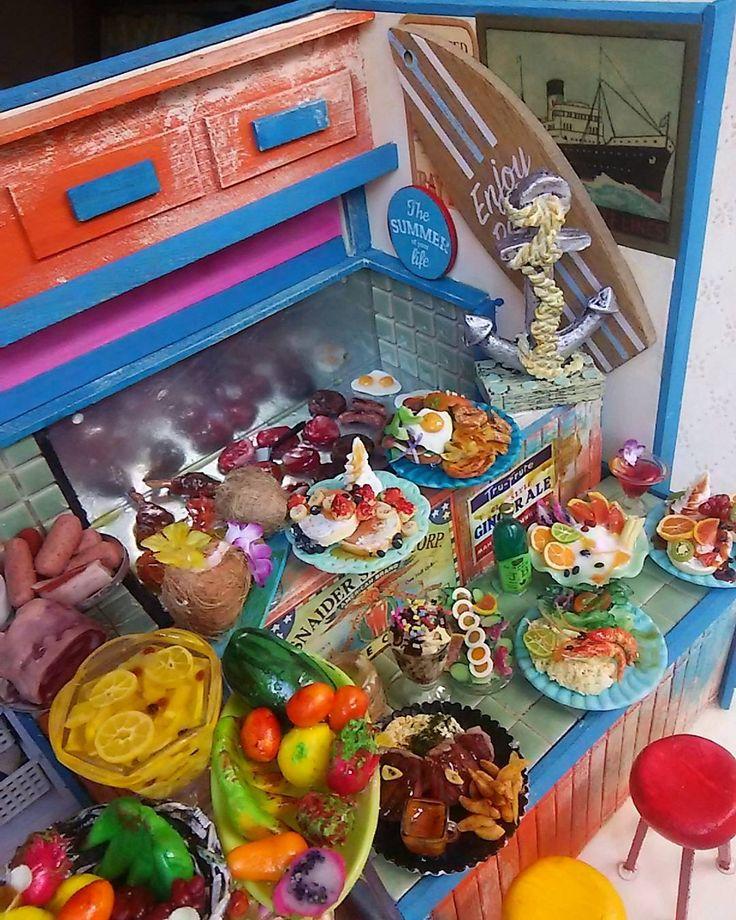 お客様オーダー作品❤ハワイアンカフェ完成です❗ #ミニチュア #ドールハウス #フェイクスイーツ #スイーツデコ #スイーツ #カフェ #ランチ #洋食 #ハワイアン #Hawaii #ハワイアンズ  #料理 #レストラン #南国 #トロピカル #アメリカ #miniature #doll #crafts #fruits #pancakes  #パンケーキ #スイーツ #ケーキ #sweets  #cafe #cakes  #JAPAN