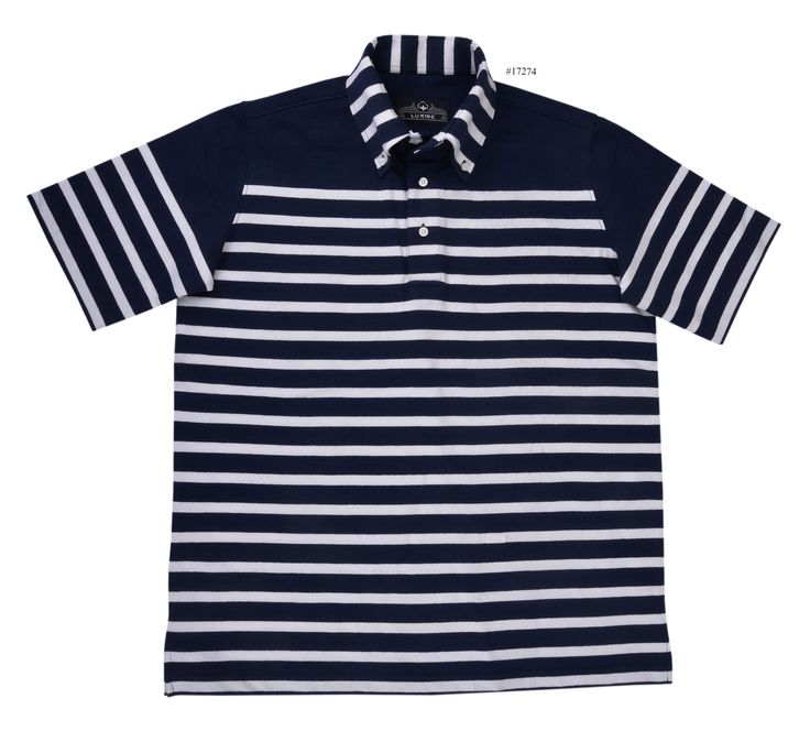 Navy White stripes Jersey pullover shirt of Luxire. Garments made from these type of materials have plenty of give as their wearers move, and also tend to cling to the body, since the fabric contracts as well as expands: http://custom.luxire.com/products/tpr-jersey-navy-white-stripes-tpr_navy_white_stripes_jsy_44  It consists of a button down collar.