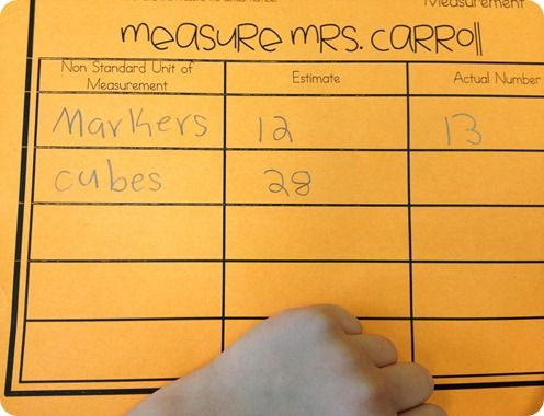 Measurement with nonstandard units. The first grade students measured the height of their teacher with different  units.
