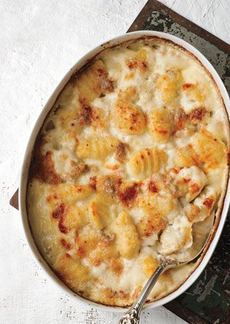 Gnocchi Gratin with Gorgonzola Dolce.  So easy (when you buy pre-made Gnocchi) and to die for delicious!