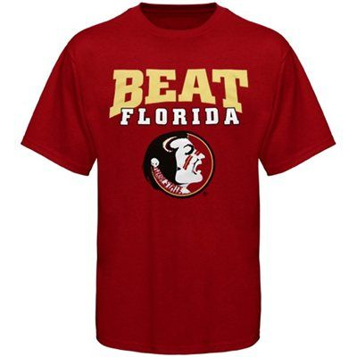 Florida State Seminoles (FSU) Garnet Beat Florida Rivalry T-shirt. This would probably be the ONLY FSU shirt the Miami Fan BF would wear...