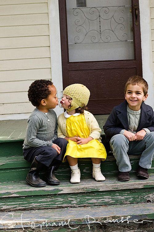 Innocent young girl interracial