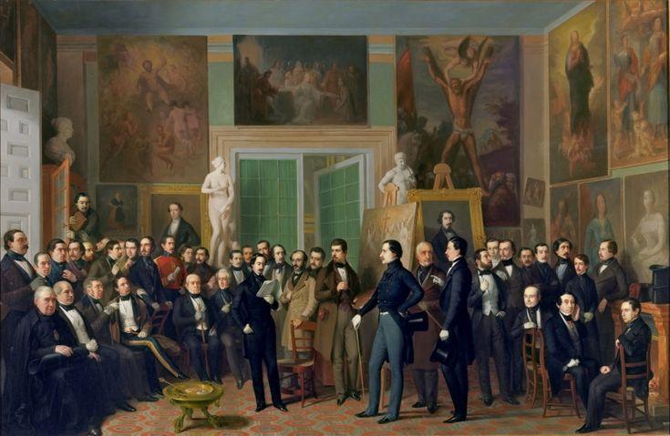 Los poetas contemporáneos. Una lectura de Zorrilla en el estudio del pintor - Colección - Museo Nacional del Prado- Antonio María Esquivel