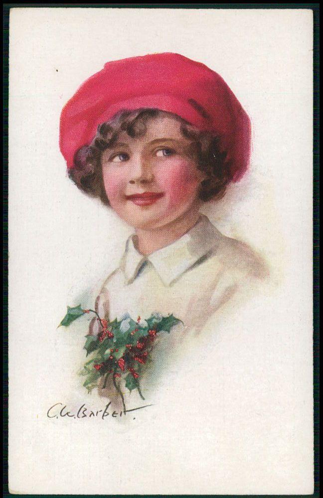 art Berber Child children with red bonnet original old c1910-1920s postcard
