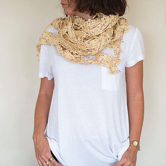 Hand Knit Shawl, Crochet Shawl ,Crochet Scarf , Lace Shawl, Beige Neck Warmer, Knitted Shawl