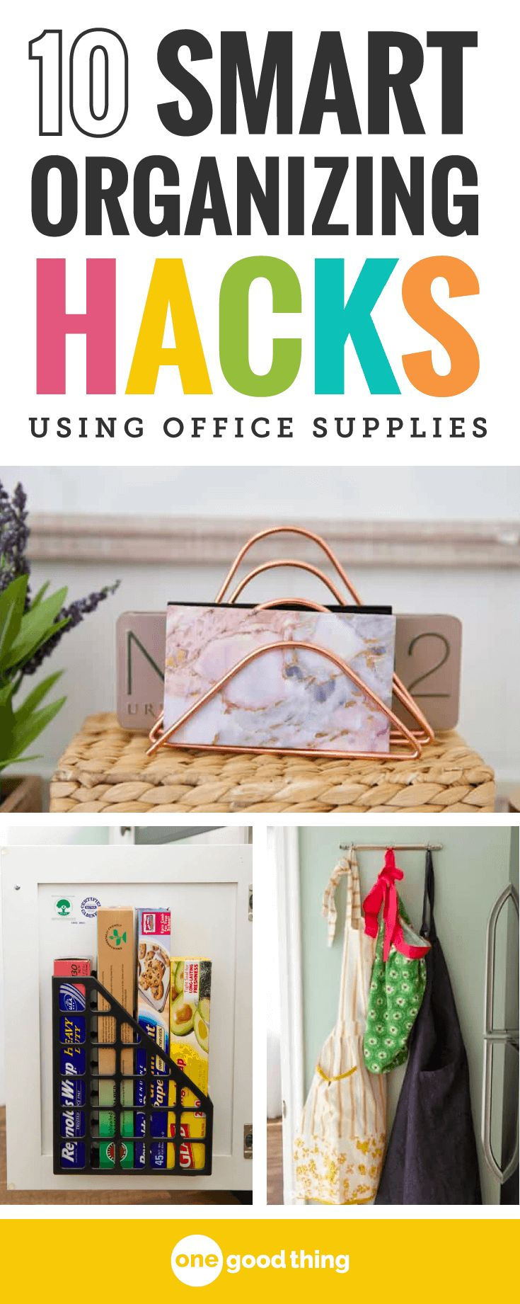 Get more organized by getting creative and resourceful with what you already have! Channel your inner MacGyver with these 11 organization hacks using everyday office supplies. #organizationhacks #officesupplies
