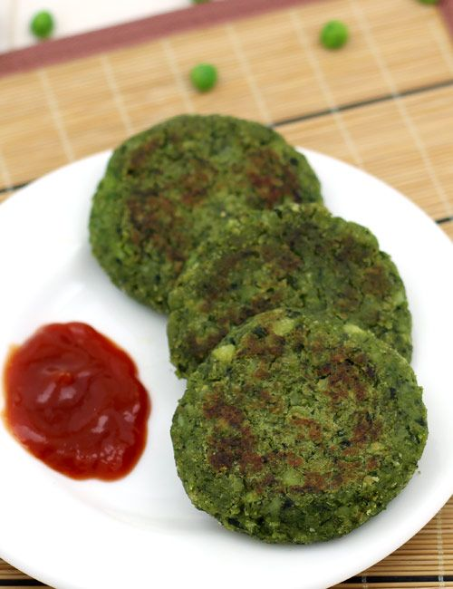 Hara Bhara Kabab - Spinach and Green Peas Tikki - Easy to make healthy snack - Serve it as a starter in the party or as evening snack - Step by Step Photo Recipe