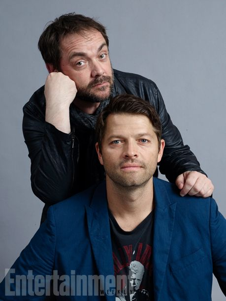 Misha Collins and Mark Sheppard, 'Supernatural' #SDCC 2015 ( Comic Con ) #EWComicCon Image Credit: Michael Muller for EW