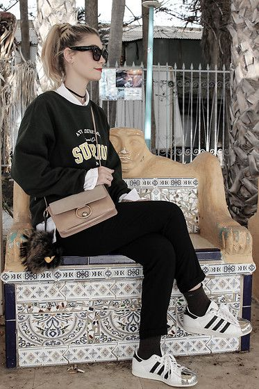 Get this look: http://lb.nu/look/8555073  More looks by Marion: http://lb.nu/marionstylee  Items in this look:  Missguided Sweater, Mango Bag, Adidas Superstar, Zara Pant, Calvin Klein Socks, Cotton On Sunies   #grunge #old school #street #look #lookbook #outfit #style #fashion #fashionblogger