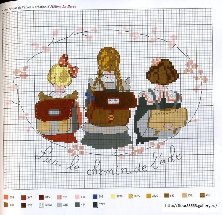 0 point de croix grille et couleurs de fils sur le chemin de l 39 cole colieres et cartables d - Grille indiciaire prof des ecoles ...