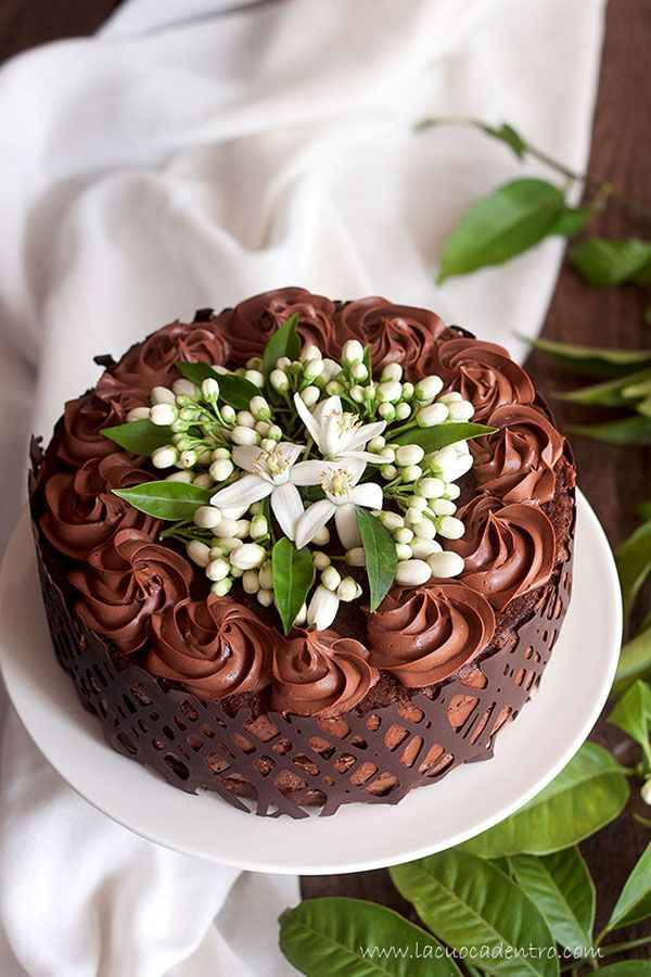 Chocolate Mousse Cake with Orange Blossom