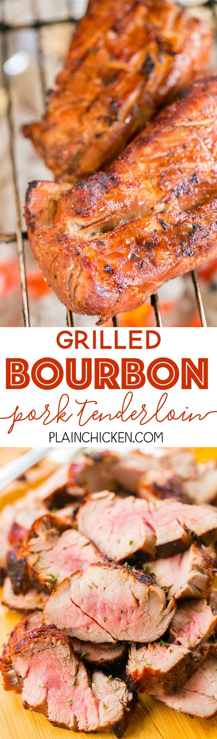 Grilled Bourbon Pork Tenderloin - better than any restaurant!!! We LOVED this pork! Pork tenderloins marinated in bourbon, brown sugar, soy sauce, Worcestershire, lemon juice, and garlic. Can use marinade on chicken and steak too. Everyone LOVES this easy