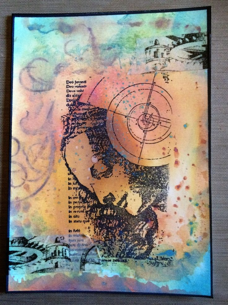 Barbs Mey The Craftroom Stamped image on Oxide ink blended background with washi tape accents