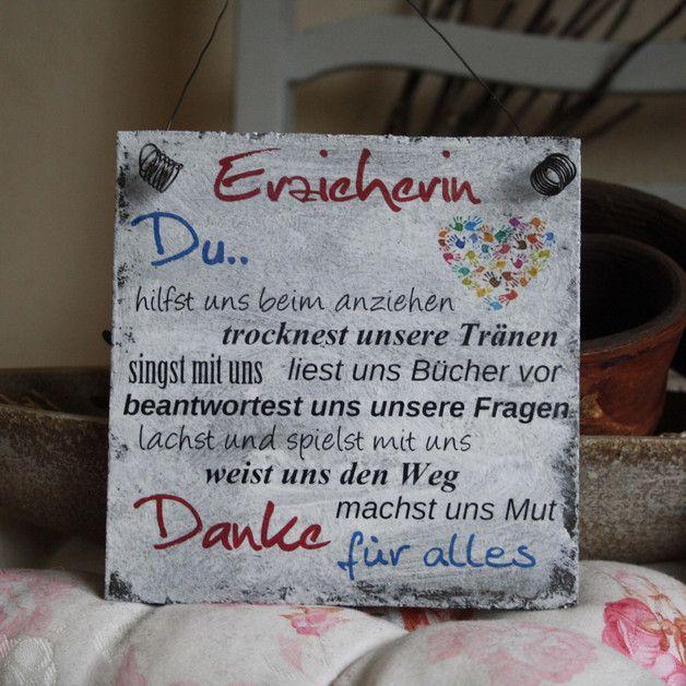 """Shabby Schild """"Erzieherin"""" Kindergarten Geschenk"""
