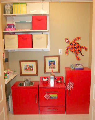 DIY Play Kitchen in the Closet