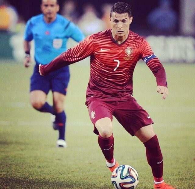 Celebrating Cristiano Ronaldo playing for Team Portugal at the world cup in Brazil