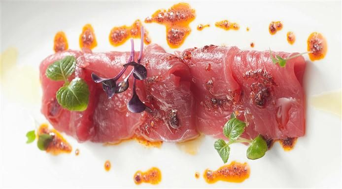 Tuna Carpaccio, Pistachio Essence And Vegetable Sprouts