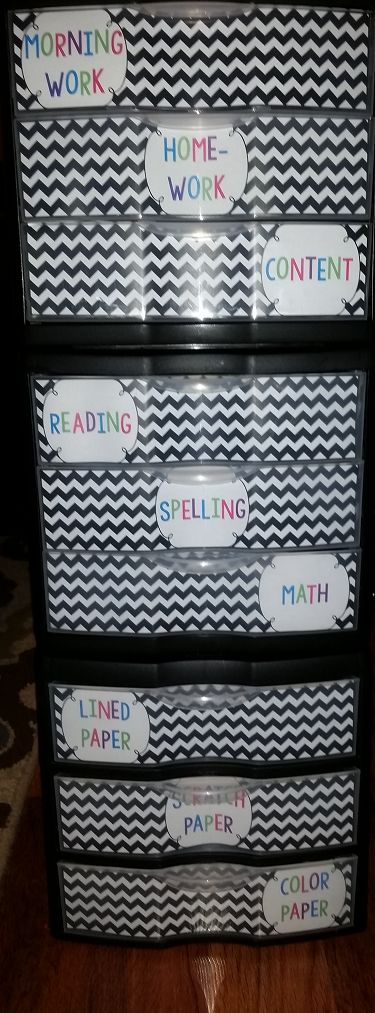 Use Sterlite containers and labels to help students turn in their work into the right places.