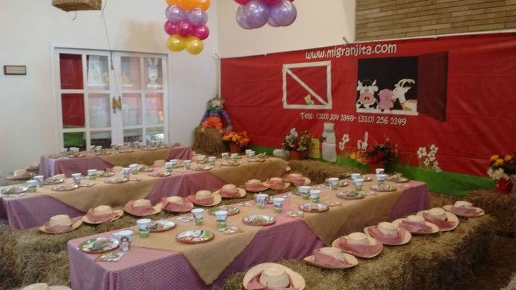 Decoración de granja para fiestas de cumpleaños.