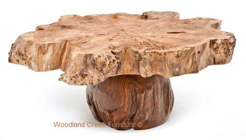 Burl Wood Coffee Tables by Woodland Creek.