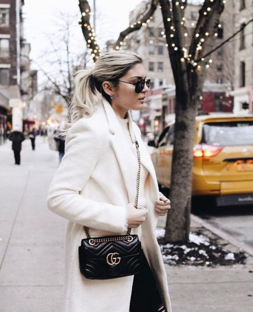 Cream coat + Gucci 'Marmont'  |  pinterest: @Blancazh