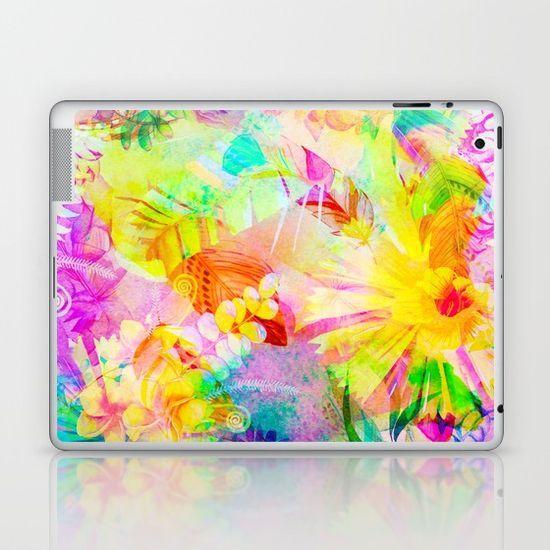 flowers pink yellow Laptop & iPad Skin