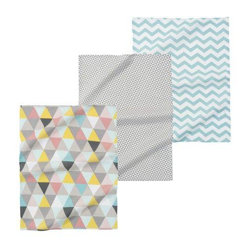 3 LUCIA cotton tea towels, multicoloured
