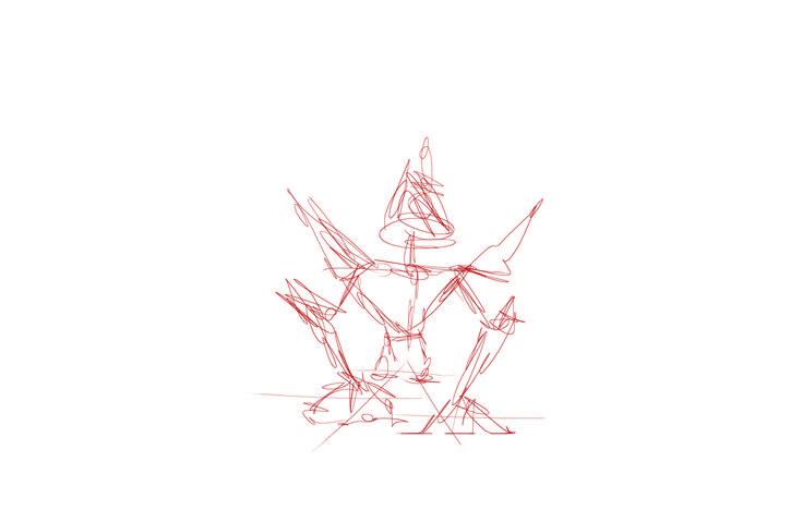 Fase 1 het schetsen van de verhoudingen en de pose