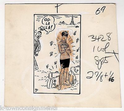 OO-LALA GIRLS OLYMPIC ATHLETES PARIS ORIGINAL INK SKETCH WWII ARTIST JACK BRYAN