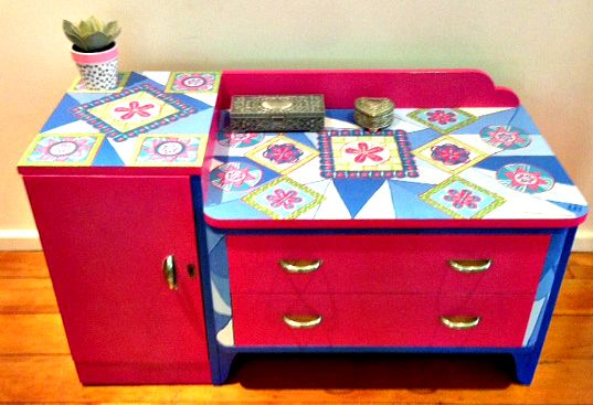 Functional Furniture-Art:  I love old vintage furniture and love painting it bright modern funky colours. This is my latest painted furniture design. A friend gave me this old dresser (see my before and after pics) and I wanted to show just what Porters Chalk Paint can do. I thought the lovely pink was beautiful and teamed it with other pastel colours. Let me know what you think? For more news check out my Facebook Page: Bronnie Brasch Designs.
