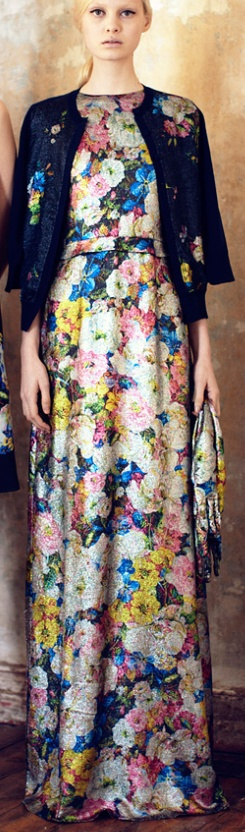 I NEED THIS DRESS!!!!  Sweater dates it a bit, but the dress its self is divine!!!  floral maxi -erdem pre-aw 13~