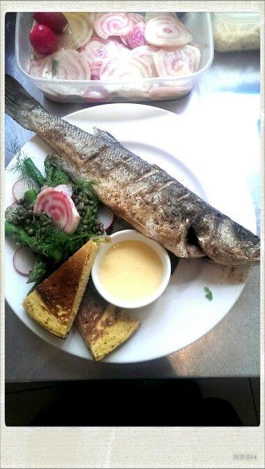 Sea Bass, Puy lentil and asparagus salad, hollandeise.