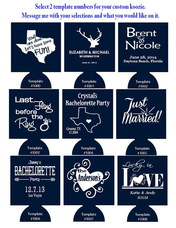 100 Custom Wedding Koozies Foam Can Coolers Pick 1 Or 2