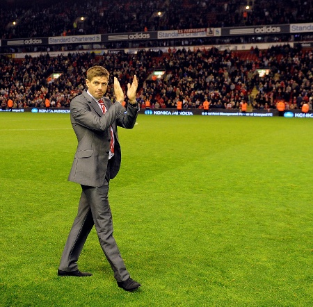 Steven Gerrard following last home game of the season 8 May 2012