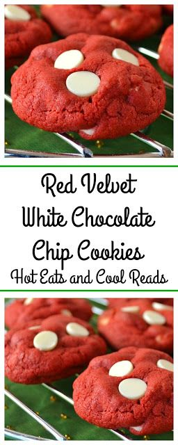 Perfect holiday cookie for any Christmas celebration! Use green food coloring for green velvet! Red Velvet White Chocolate Chip Cookies Recipe from Hot Eats and Cool Reads