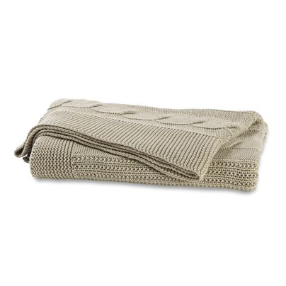 130x180cm Cable Knit Throw Natural