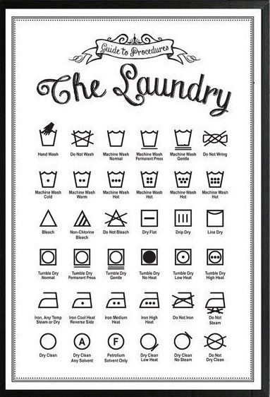 Customizable Laundry Symbols Print Personalize Guide To